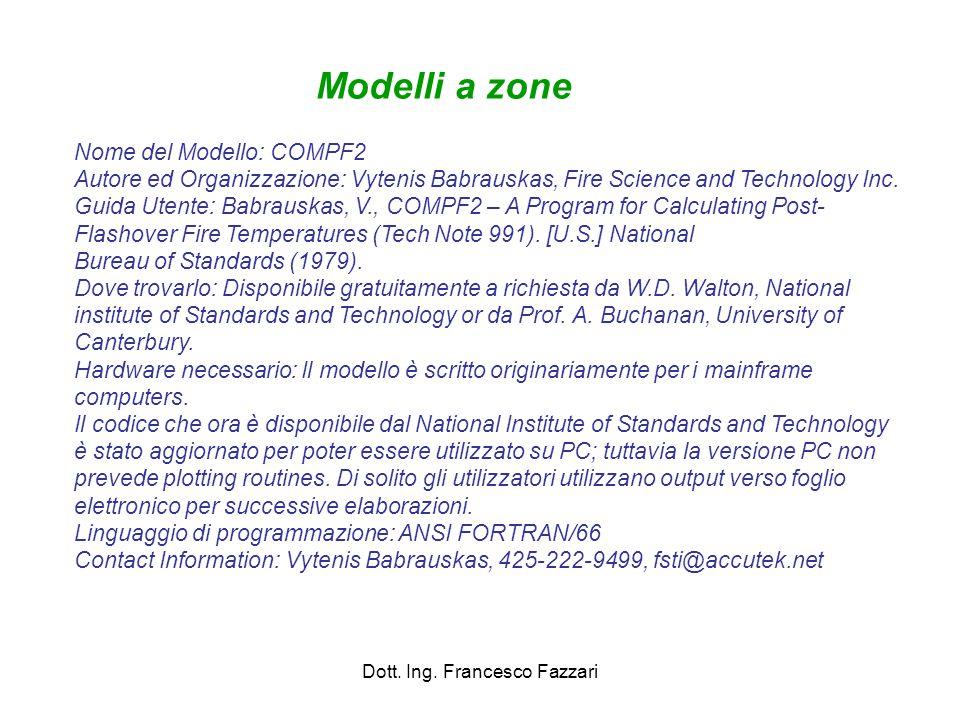 Dott. Ing. Francesco Fazzari Nome del Modello: COMPF2 Autore ed Organizzazione: Vytenis Babrauskas, Fire Science and Technology Inc. Guida Utente: Bab
