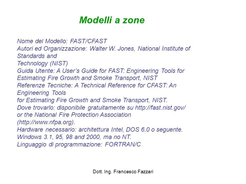Dott. Ing. Francesco Fazzari Nome del Modello: FAST/CFAST Autori ed Organizzazione: Walter W. Jones, National Institute of Standards and Technology (N