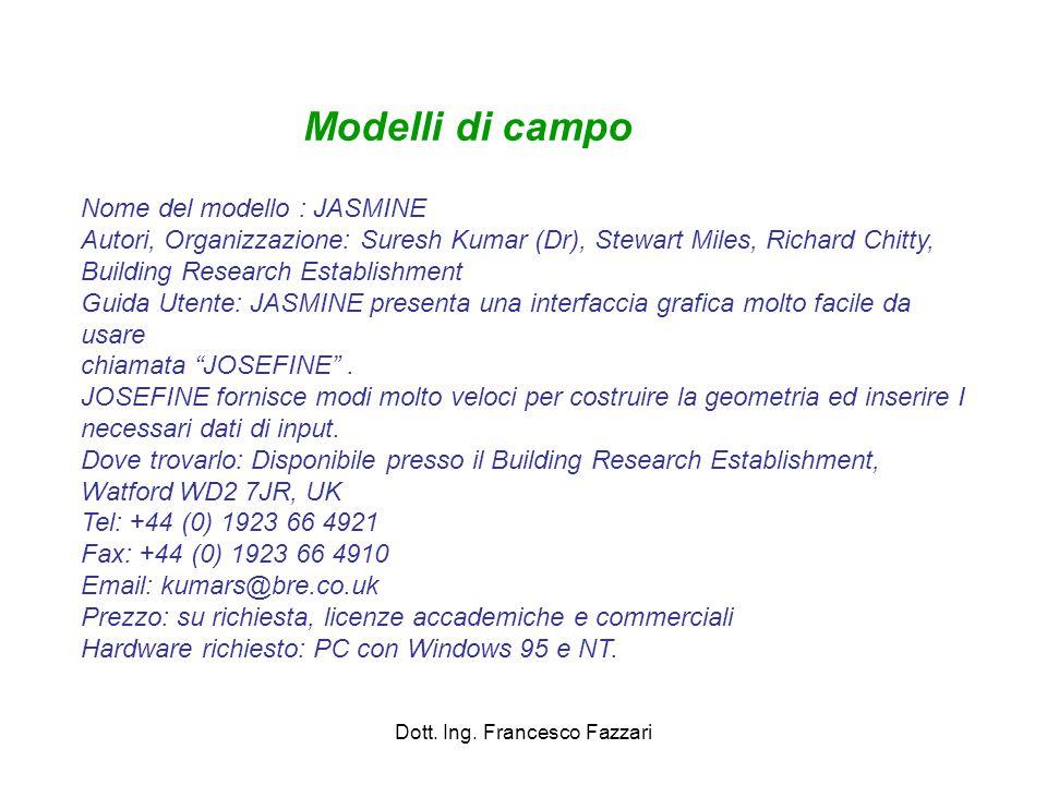 Dott. Ing. Francesco Fazzari Nome del modello : JASMINE Autori, Organizzazione: Suresh Kumar (Dr), Stewart Miles, Richard Chitty, Building Research Es