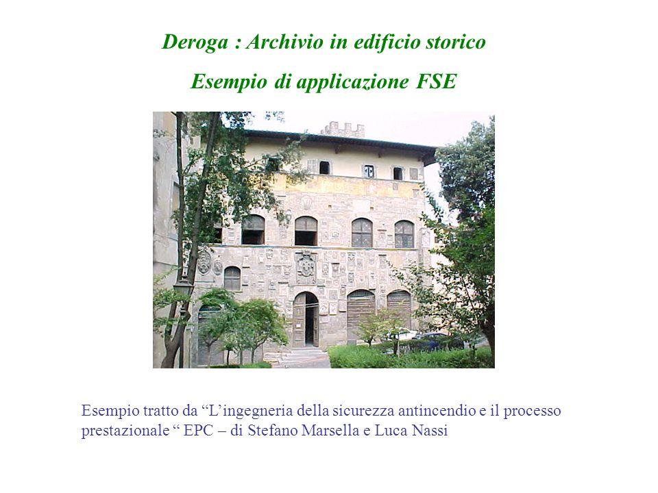 """Deroga : Archivio in edificio storico Esempio di applicazione FSE Esempio tratto da """"L'ingegneria della sicurezza antincendio e il processo prestazion"""