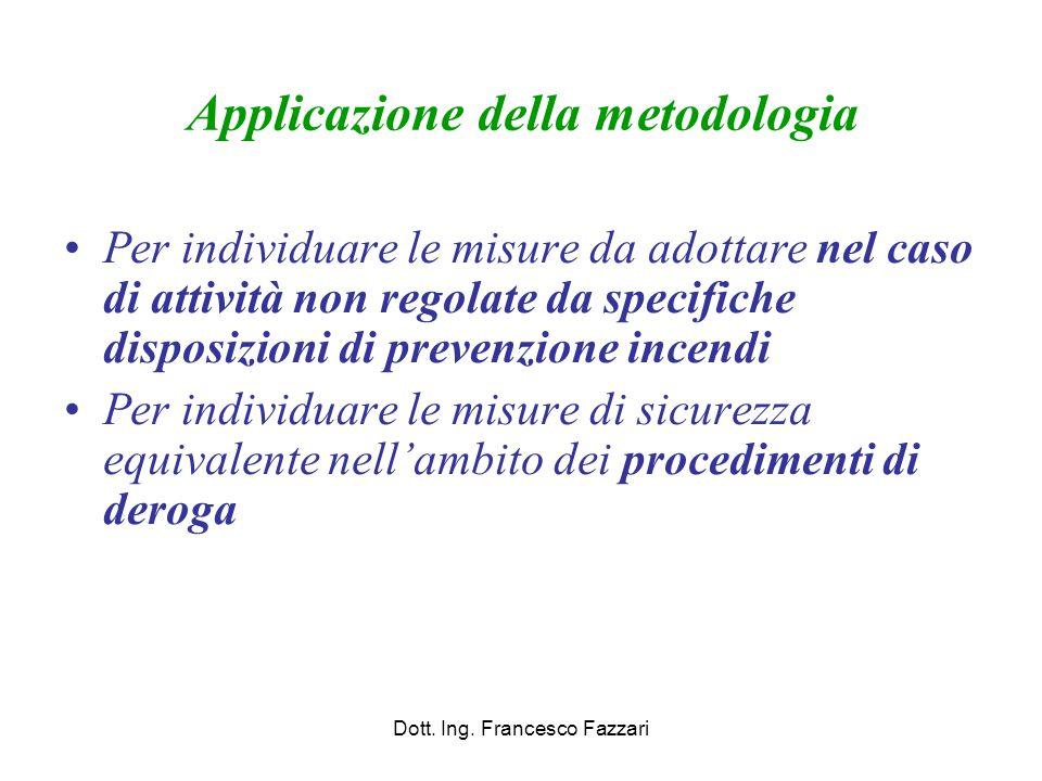 Applicazione della metodologia Per individuare le misure da adottare nel caso di attività non regolate da specifiche disposizioni di prevenzione incen