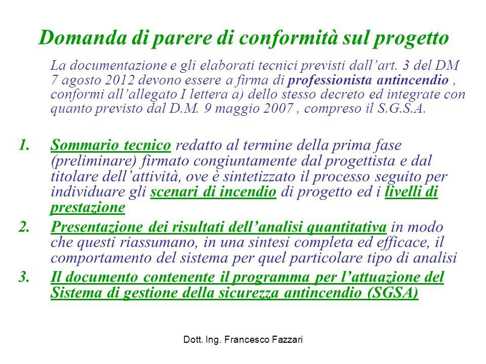 Domanda di parere di conformità sul progetto La documentazione e gli elaborati tecnici previsti dall'art. 3 del DM 7 agosto 2012 devono essere a firma