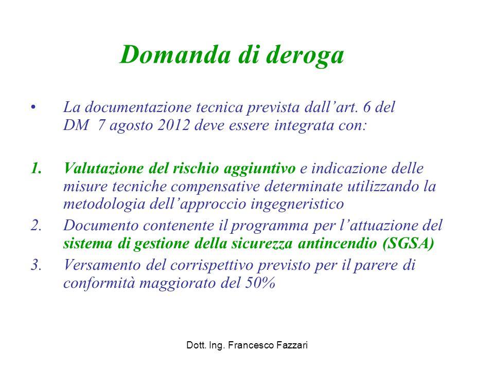 Domanda di deroga La documentazione tecnica prevista dall'art. 6 del DM 7 agosto 2012 deve essere integrata con: 1.Valutazione del rischio aggiuntivo