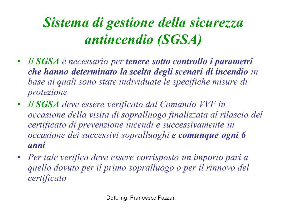 Sistema di gestione della sicurezza antincendio (SGSA) Il SGSA è necessario per tenere sotto controllo i parametri che hanno determinato la scelta deg
