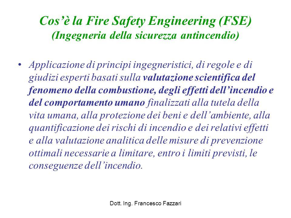 Cos'è la Fire Safety Engineering (FSE) (Ingegneria della sicurezza antincendio) Applicazione di principi ingegneristici, di regole e di giudizi espert