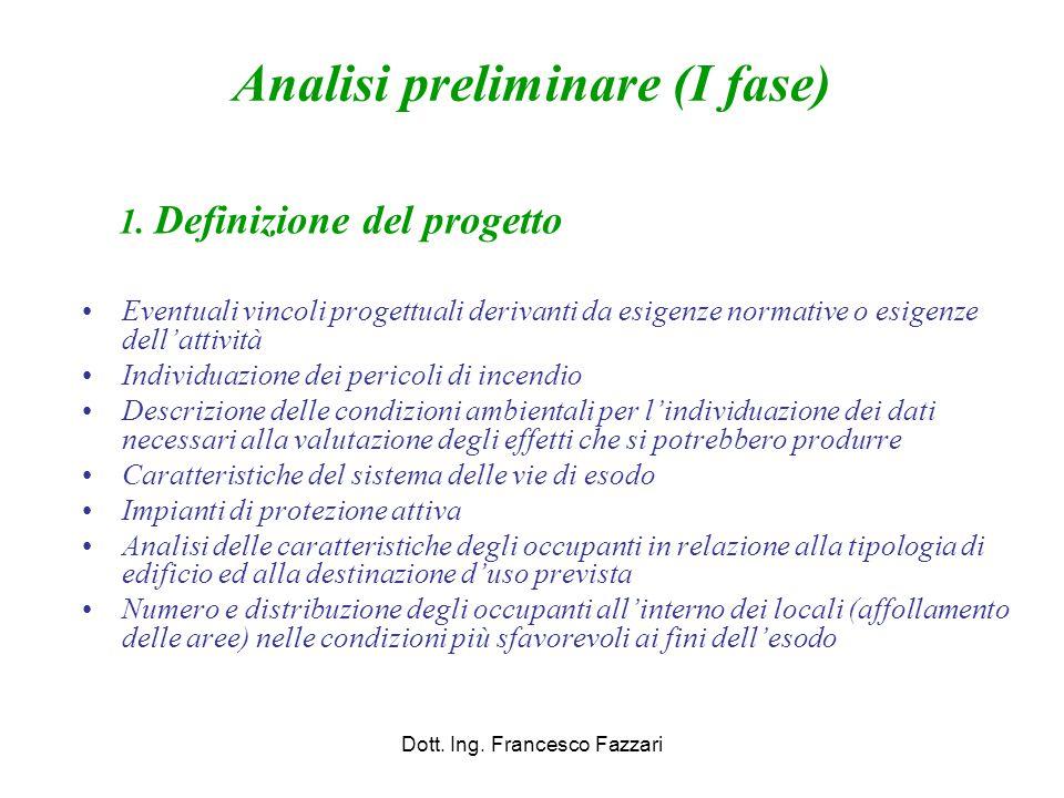 Analisi preliminare (I fase) 1. Definizione del progetto Eventuali vincoli progettuali derivanti da esigenze normative o esigenze dell'attività Indivi