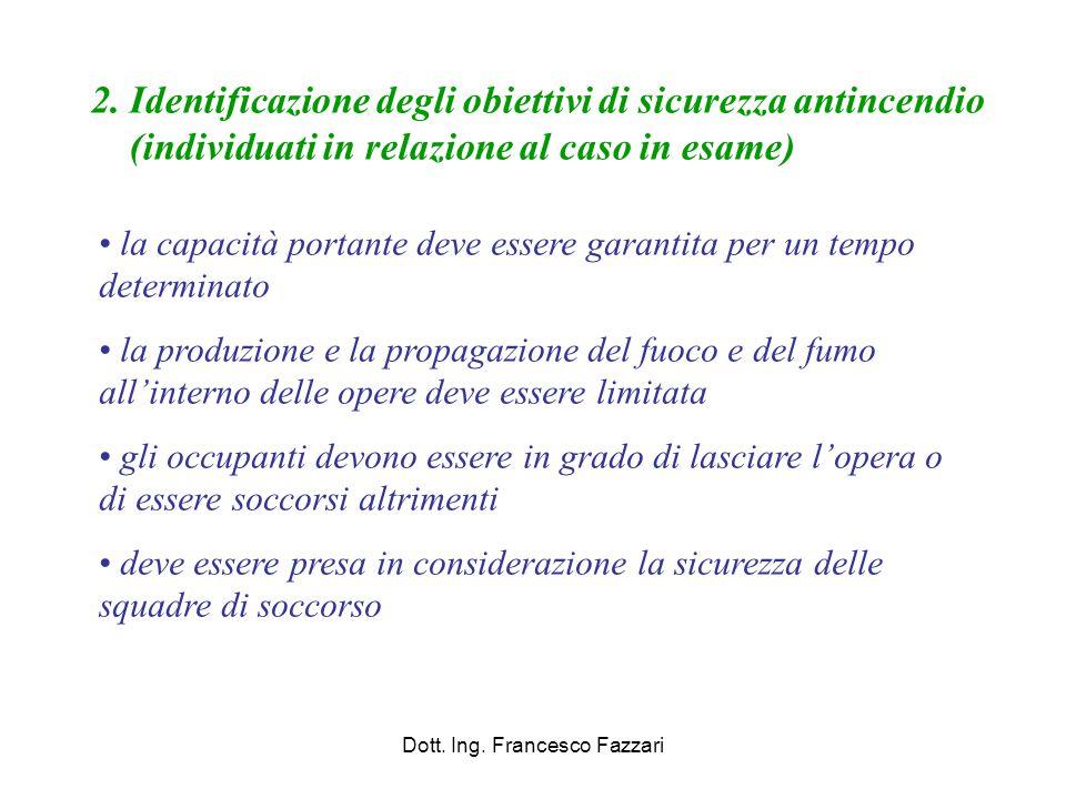 Dott. Ing. Francesco Fazzari 2. Identificazione degli obiettivi di sicurezza antincendio (individuati in relazione al caso in esame) la capacità porta