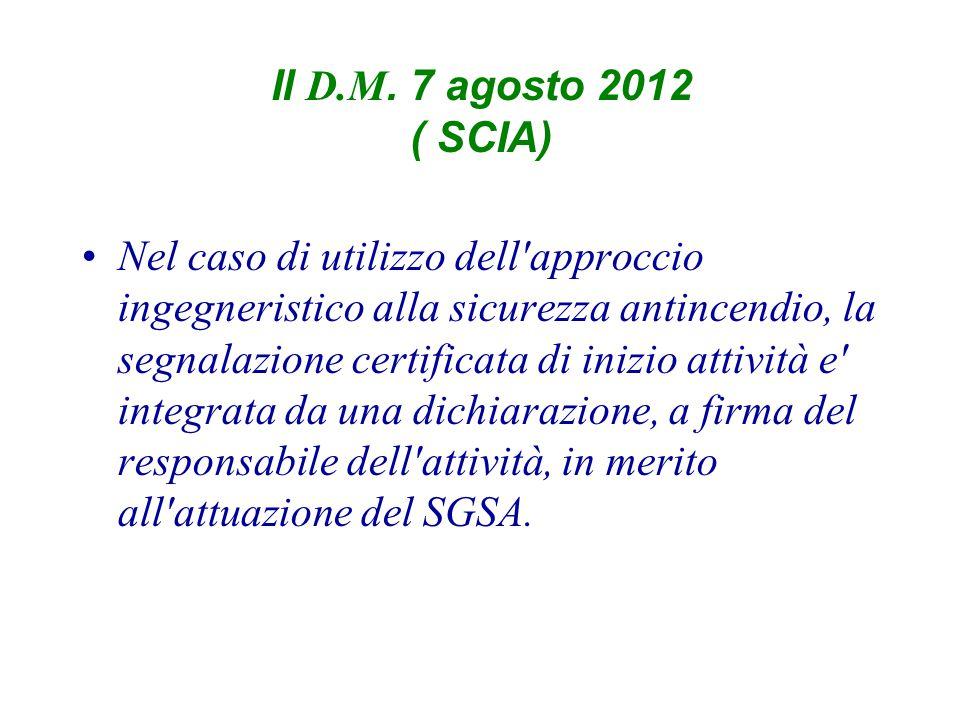 Il D.M. 7 agosto 2012 ( SCIA) Nel caso di utilizzo dell'approccio ingegneristico alla sicurezza antincendio, la segnalazione certificata di inizio att