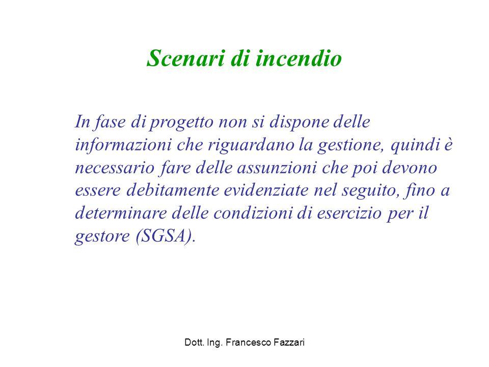 Scenari di incendio Dott. Ing. Francesco Fazzari In fase di progetto non si dispone delle informazioni che riguardano la gestione, quindi è necessario