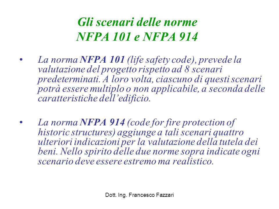 Gli scenari delle norme NFPA 101 e NFPA 914 La norma NFPA 101 (life safety code), prevede la valutazione del progetto rispetto ad 8 scenari predetermi