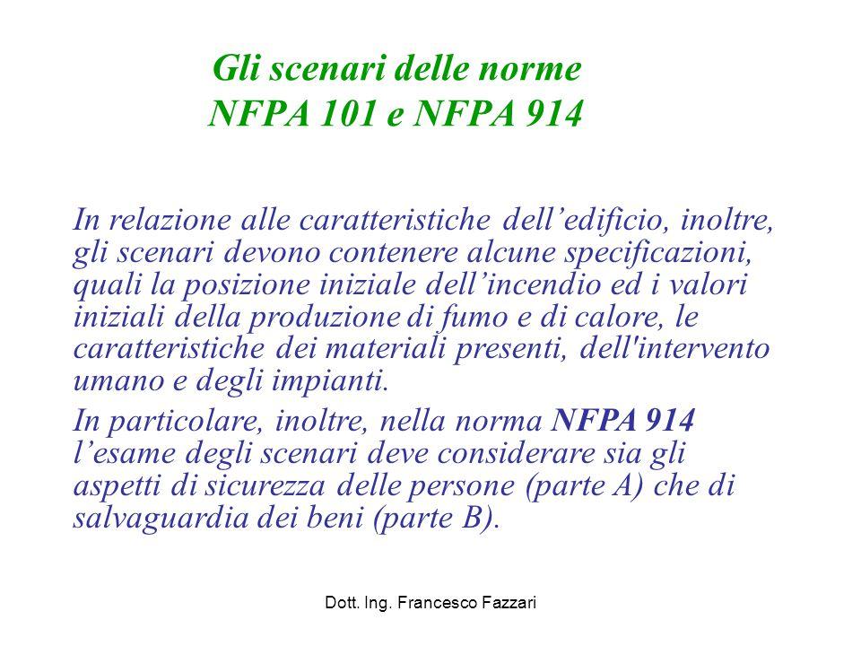 Gli scenari delle norme NFPA 101 e NFPA 914 Dott. Ing. Francesco Fazzari In relazione alle caratteristiche dell'edificio, inoltre, gli scenari devono