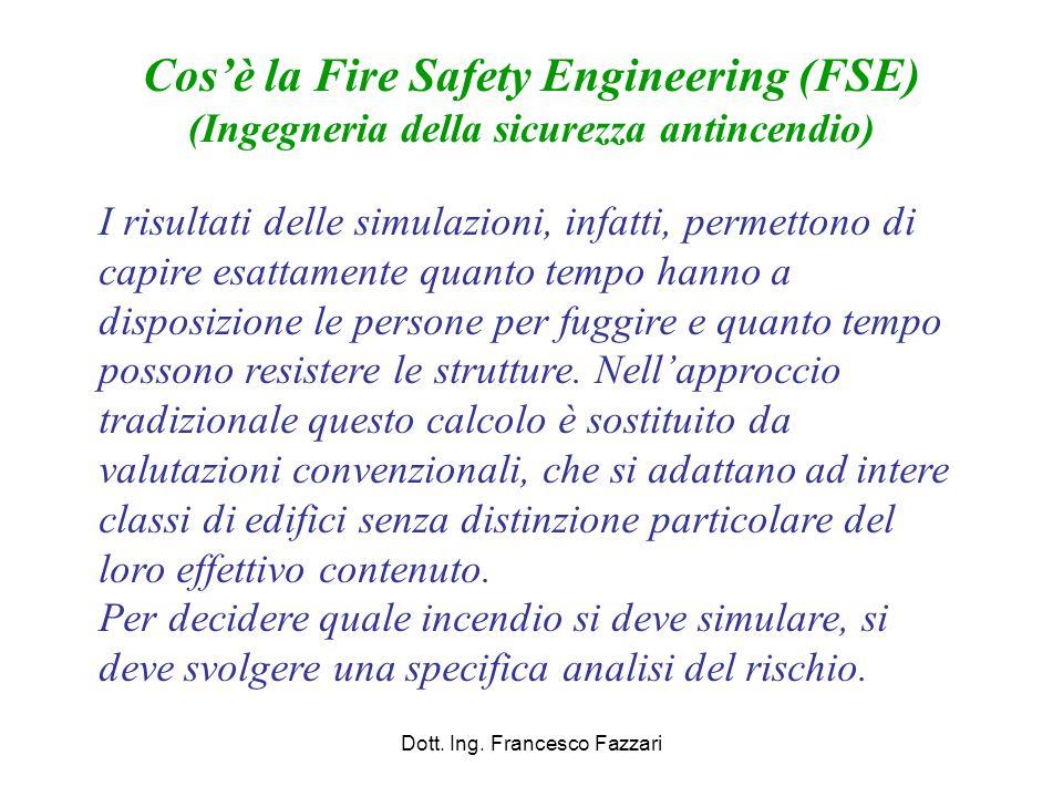 Applicazioni possibili di Fire Safety Engineering (Ingegneria della sicurezza antincendio) Individuazione delle misure di compensazione nei progetti di deroga, con analisi di tipo quantitativo, anche su singoli aspetti di prevenzione incendi (es.