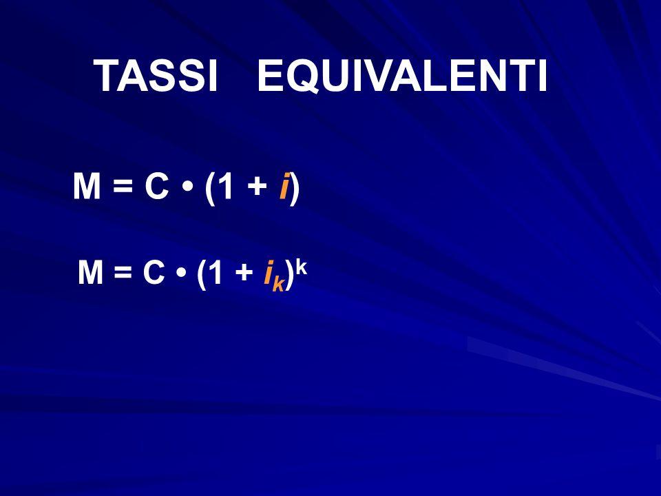 TASSI EQUIVALENTI M = C (1 + i) M = C (1 + i k ) k
