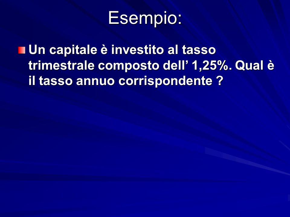 Esempio: Un capitale è investito al tasso trimestrale composto dell' 1,25%. Qual è il tasso annuo corrispondente ?
