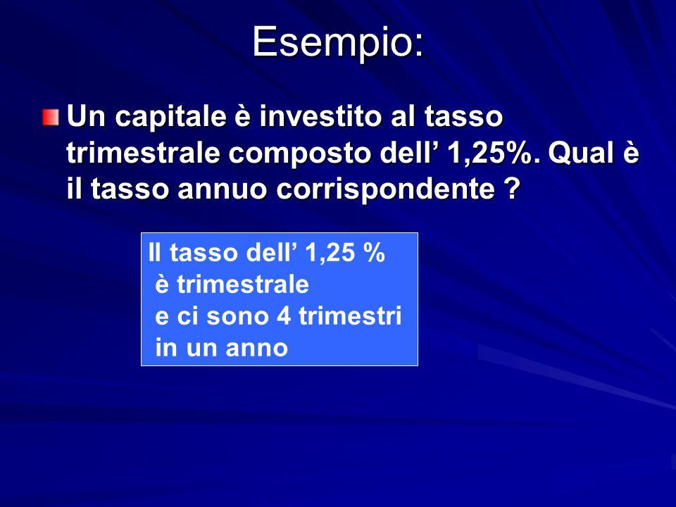 Esempio: Il tasso dell' 1,25 % è trimestrale e ci sono 4 trimestri in un anno