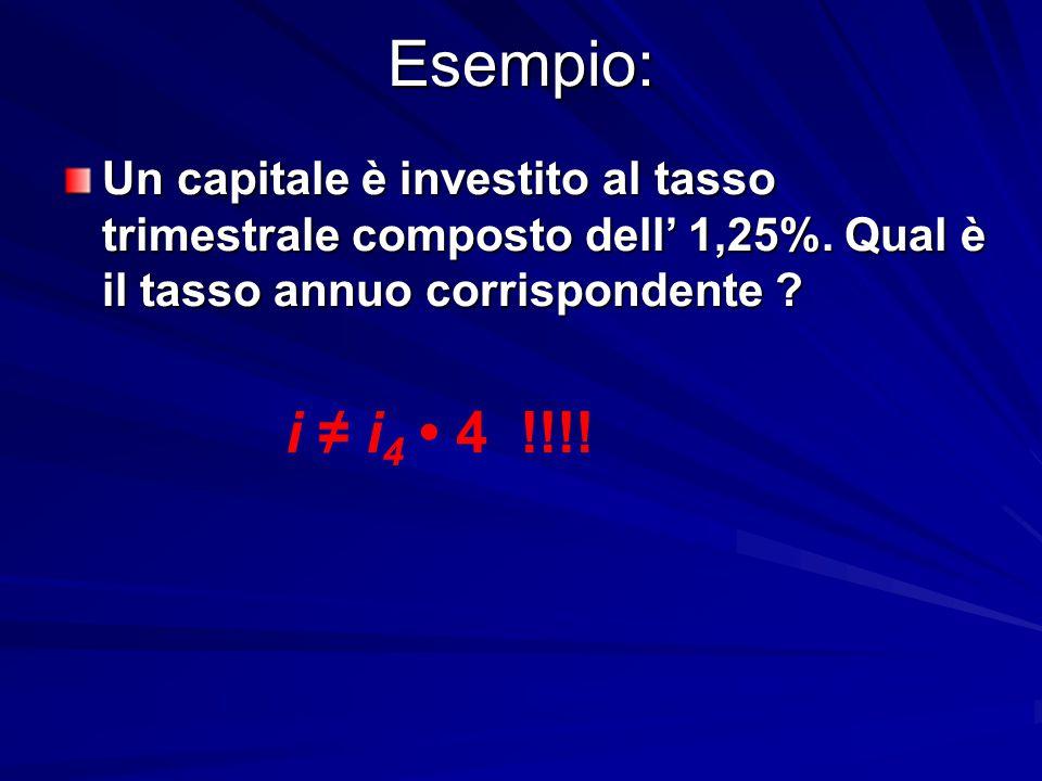 Esempio: Un capitale è investito al tasso trimestrale composto dell' 1,25%. Qual è il tasso annuo corrispondente ? i ≠ i 4 4 !!!!