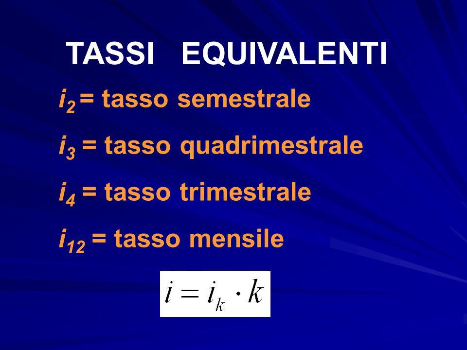 TASSI EQUIVALENTI i 2 = tasso semestrale i 3 = tasso quadrimestrale i 4 = tasso trimestrale i 12 = tasso mensile