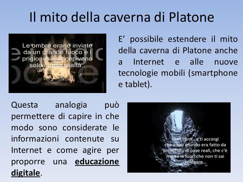 Il mito della caverna di Platone E' possibile estendere il mito della caverna di Platone anche a Internet e alle nuove tecnologie mobili (smartphone e