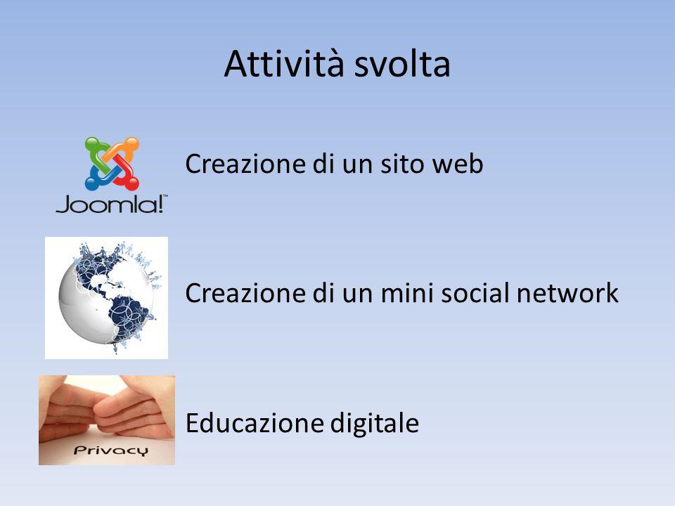 Attività svolta Creazione di un sito web Creazione di un mini social network Educazione digitale