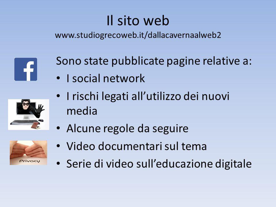 Il sito web www.studiogrecoweb.it/dallacavernaalweb2 Sono state pubblicate pagine relative a: I social network I rischi legati all'utilizzo dei nuovi