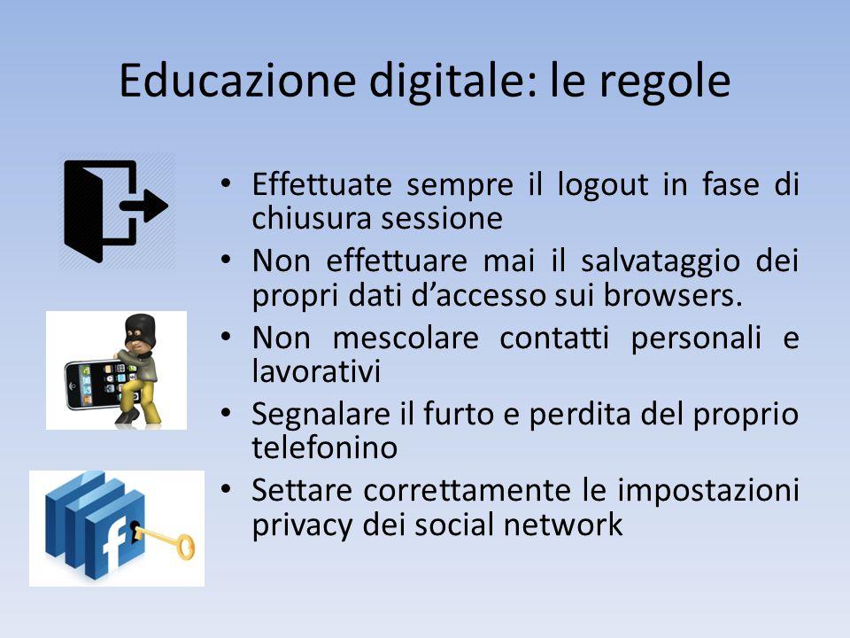 Educazione digitale: le regole Effettuate sempre il logout in fase di chiusura sessione Non effettuare mai il salvataggio dei propri dati d'accesso su