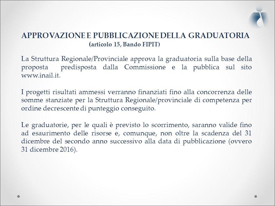 APPROVAZIONE E PUBBLICAZIONE DELLA GRADUATORIA ( articolo 15, Bando FIPIT) La Struttura Regionale/Provinciale approva la graduatoria sulla base della proposta predisposta dalla Commissione e la pubblica sul sito www.inail.it.