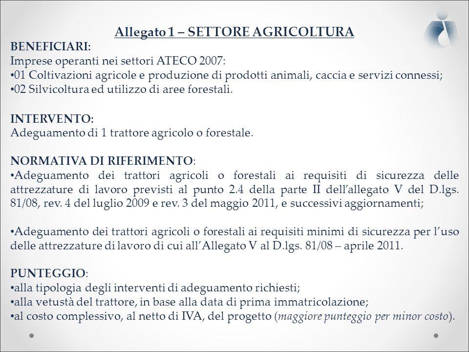 Allegato 1 – SETTORE AGRICOLTURA BENEFICIARI: Imprese operanti nei settori ATECO 2007: 01 Coltivazioni agricole e produzione di prodotti animali, caccia e servizi connessi; 02 Silvicoltura ed utilizzo di aree forestali.