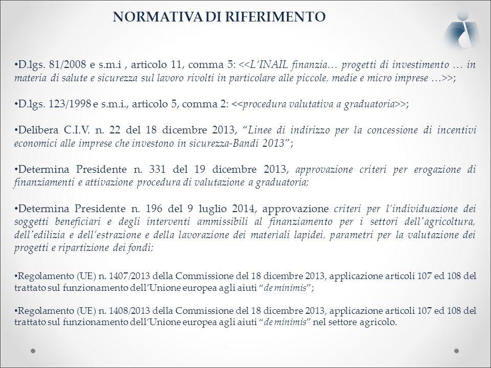 NORMATIVA DI RIFERIMENTO D.lgs. 81/2008 e s.m.i, articolo 11, comma 5: >; D.lgs.