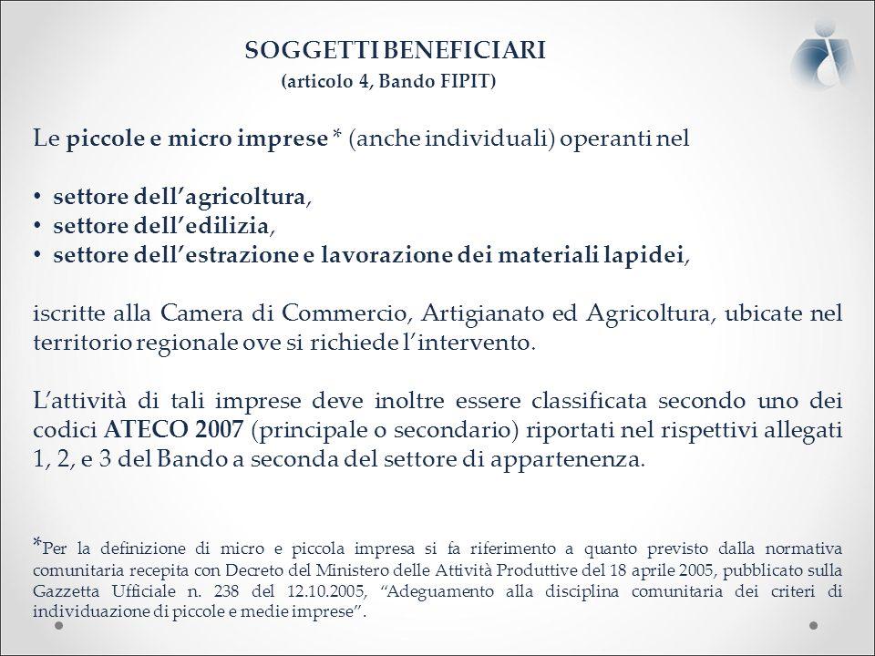 I CONTRIBUTI PREVISTI (articolo 3, Bando FIPIT) contributo, in conto capitale, fino al 65% dei costi, al netto dell'I.V.A., sostenuti e documentati per la realizzazione del progetto.
