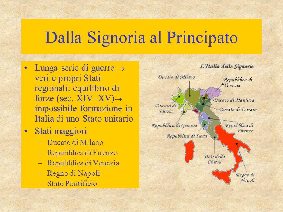 Dalla Signoria al Principato Lunga serie di guerre  veri e propri Stati regionali: equilibrio di forze (sec. XIV–XV)  impossibile formazione in Ital