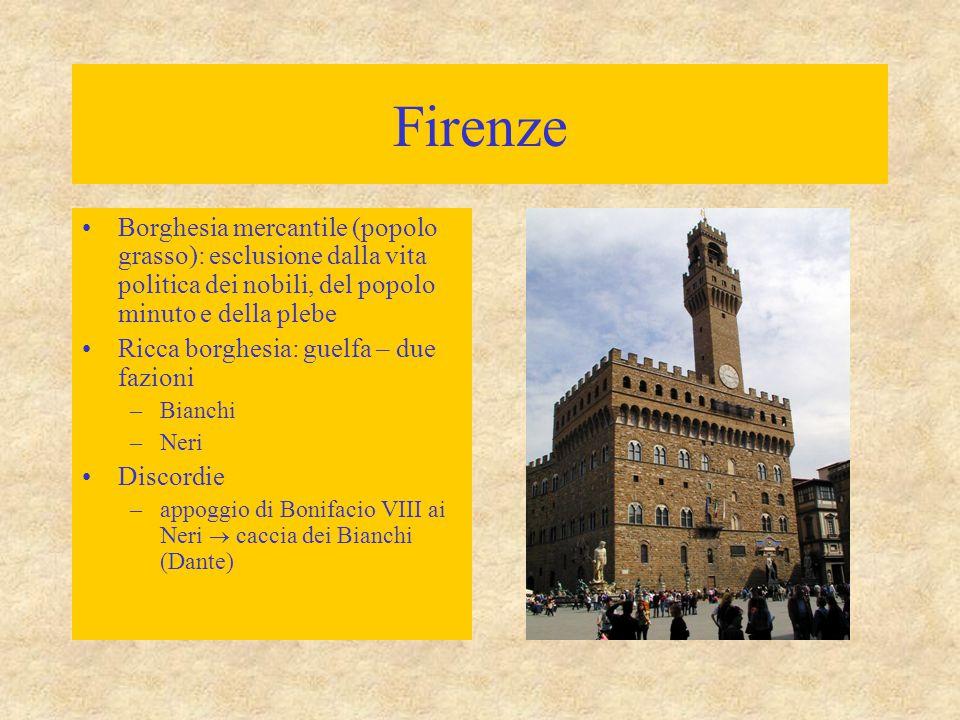 Firenze Borghesia mercantile (popolo grasso): esclusione dalla vita politica dei nobili, del popolo minuto e della plebe Ricca borghesia: guelfa – due