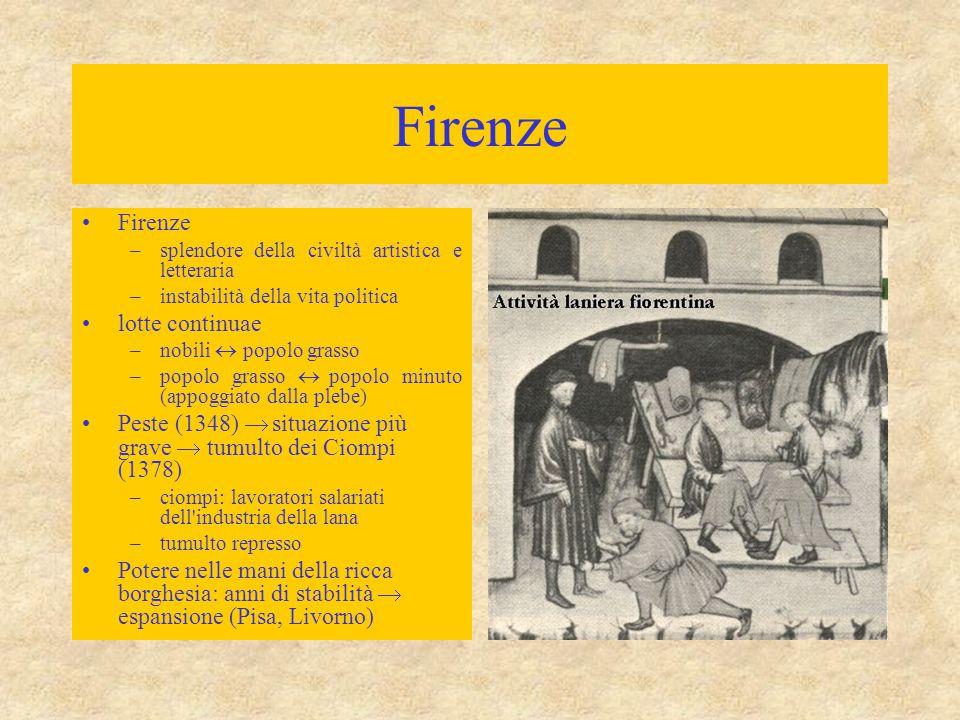 Firenze –splendore della civiltà artistica e letteraria –instabilità della vita politica lotte continuae –nobili  popolo grasso –popolo grasso  popo