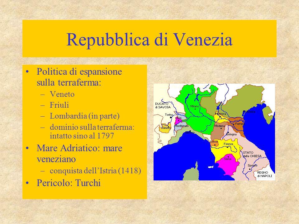 Repubblica di Venezia Politica di espansione sulla terraferma: –Veneto –Friuli –Lombardia (in parte) –dominio sulla terraferma: intatto sino al 1797 Mare Adriatico: mare veneziano –conquista dell'Istria (1418) Pericolo: Turchi