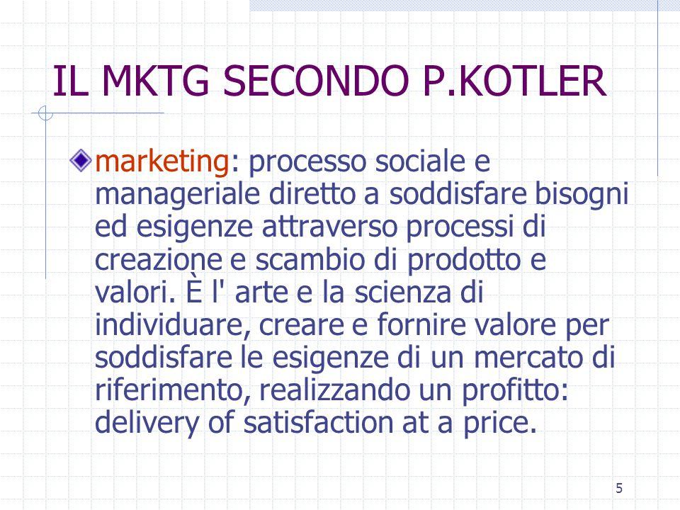 5 IL MKTG SECONDO P.KOTLER marketing: processo sociale e manageriale diretto a soddisfare bisogni ed esigenze attraverso processi di creazione e scambio di prodotto e valori.