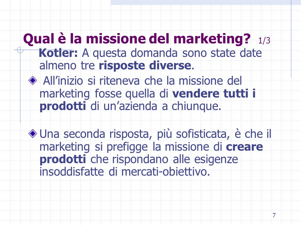 6 L'EVOLUZIONE DEL MARKETING