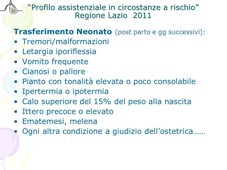 """""""Profilo assistenziale in circostanze a rischio"""" Regione Lazio 2011 Trasferimento Neonato (post parto e gg successivi): Tremori/malformazioni Letargia"""