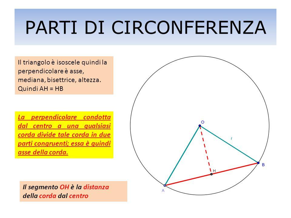 La perpendicolare condotta dal centro a una qualsiasi corda divide tale corda in due parti congruenti; essa è quindi asse della corda. Il triangolo è