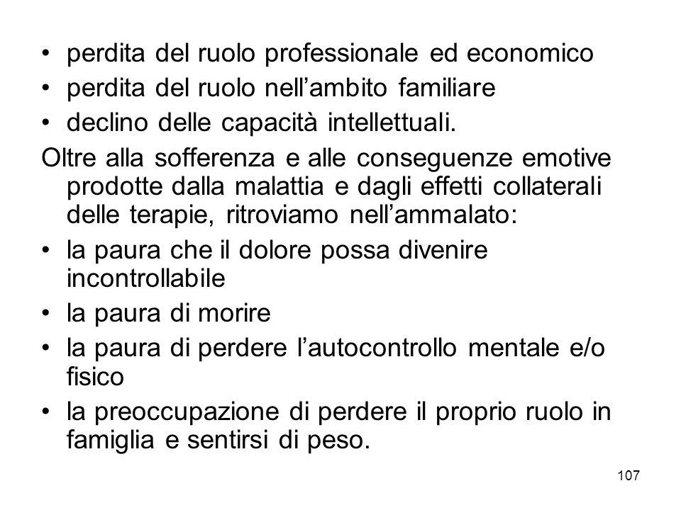 107 perdita del ruolo professionale ed economico perdita del ruolo nell'ambito familiare declino delle capacità intellettuali.