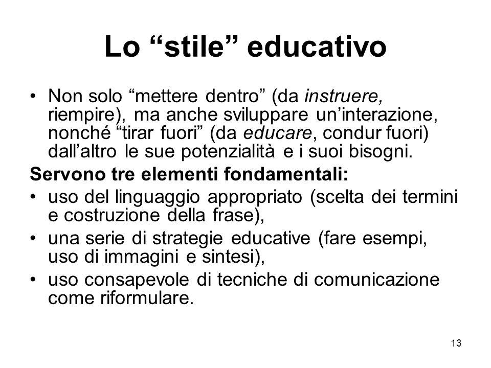 13 Lo stile educativo Non solo mettere dentro (da instruere, riempire), ma anche sviluppare un'interazione, nonché tirar fuori (da educare, condur fuori) dall'altro le sue potenzialità e i suoi bisogni.