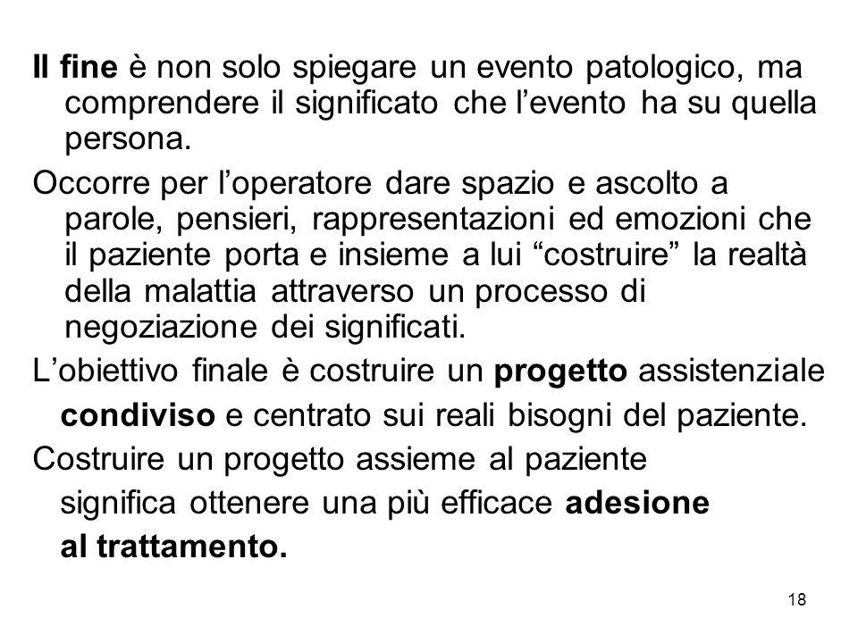 18 Il fine è non solo spiegare un evento patologico, ma comprendere il significato che l'evento ha su quella persona.
