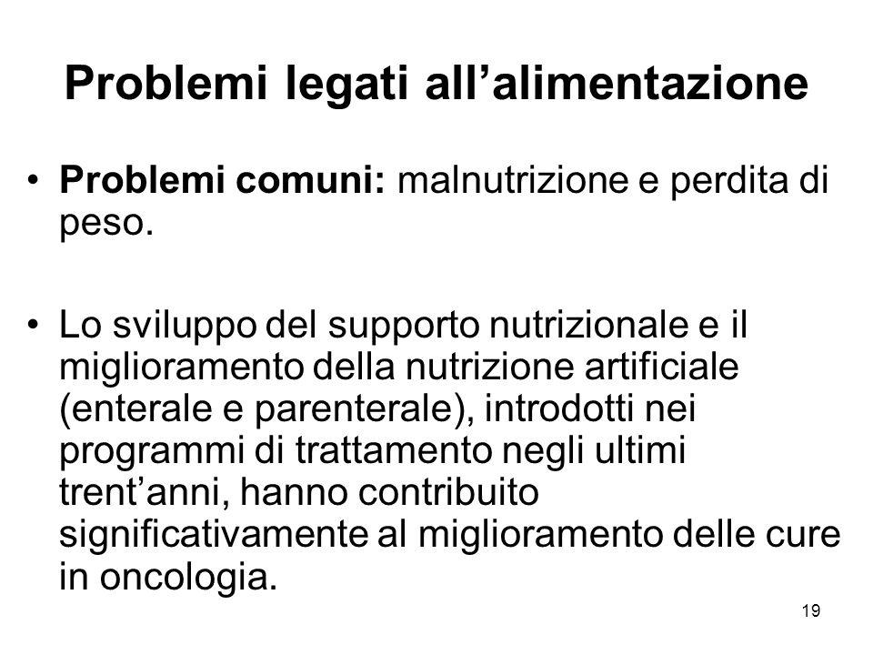 19 Problemi legati all'alimentazione Problemi comuni: malnutrizione e perdita di peso.