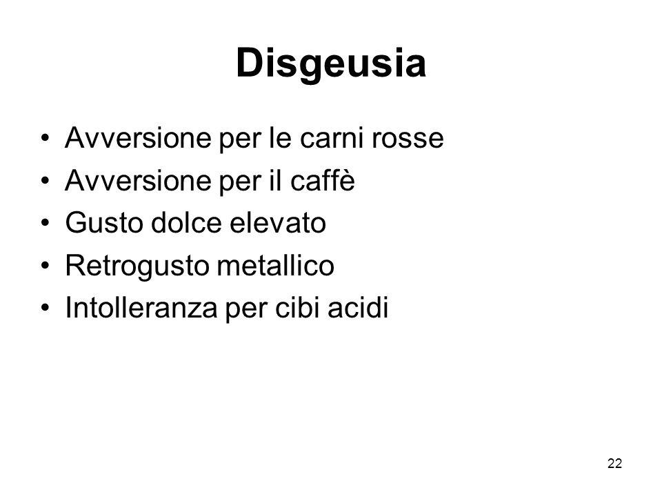22 Disgeusia Avversione per le carni rosse Avversione per il caffè Gusto dolce elevato Retrogusto metallico Intolleranza per cibi acidi