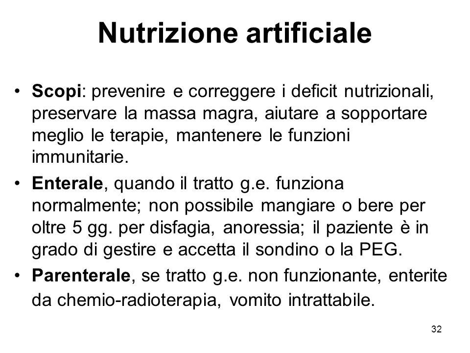 32 Nutrizione artificiale Scopi: prevenire e correggere i deficit nutrizionali, preservare la massa magra, aiutare a sopportare meglio le terapie, mantenere le funzioni immunitarie.