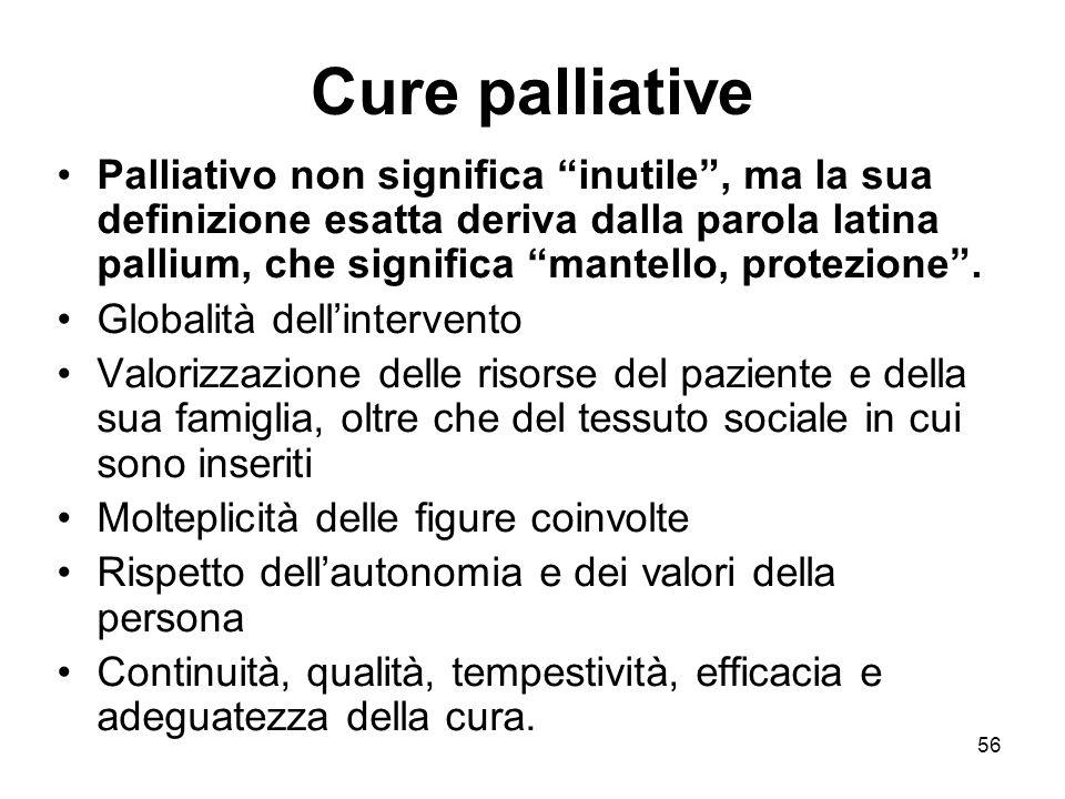 56 Cure palliative Palliativo non significa inutile , ma la sua definizione esatta deriva dalla parola latina pallium, che significa mantello, protezione .