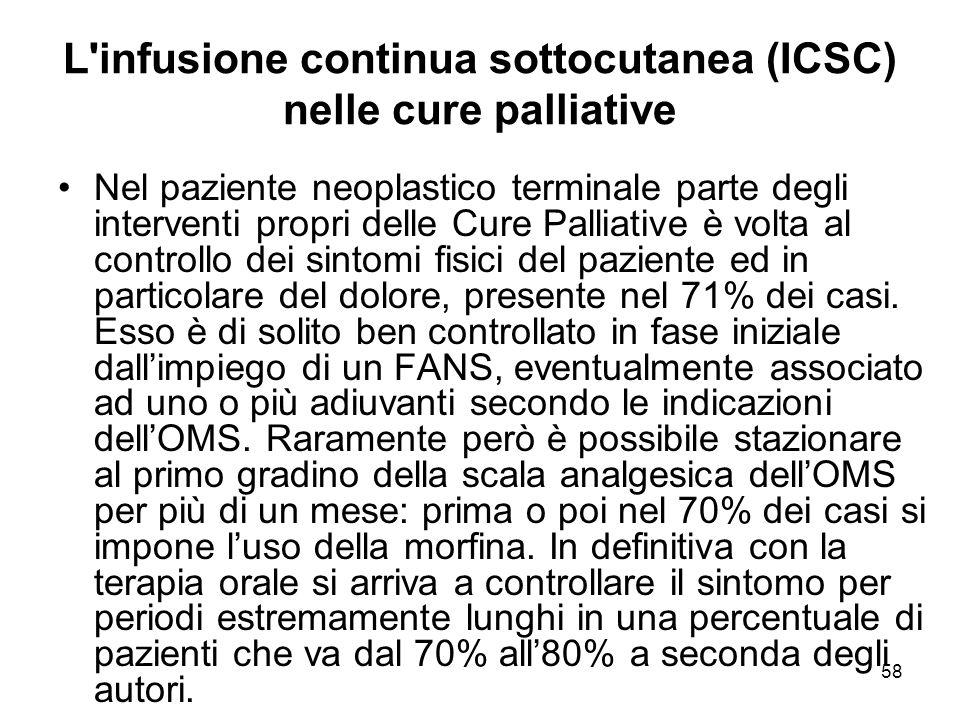 58 L infusione continua sottocutanea (ICSC) nelle cure palliative Nel paziente neoplastico terminale parte degli interventi propri delle Cure Palliative è volta al controllo dei sintomi fisici del paziente ed in particolare del dolore, presente nel 71% dei casi.