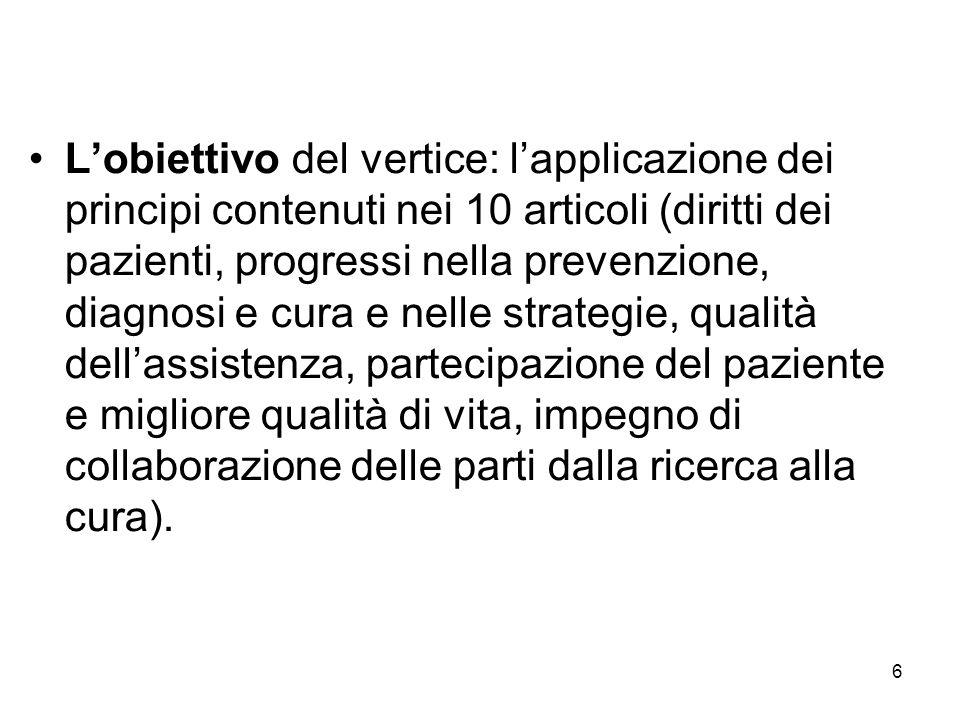 6 L'obiettivo del vertice: l'applicazione dei principi contenuti nei 10 articoli (diritti dei pazienti, progressi nella prevenzione, diagnosi e cura e nelle strategie, qualità dell'assistenza, partecipazione del paziente e migliore qualità di vita, impegno di collaborazione delle parti dalla ricerca alla cura).