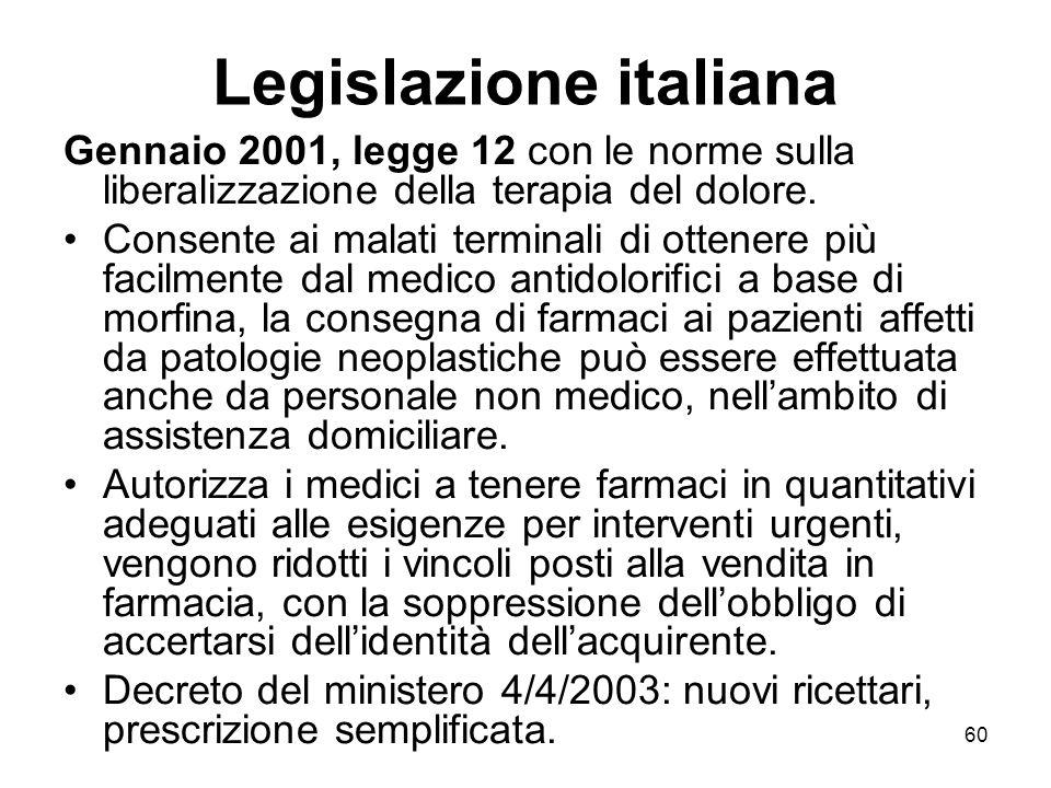 60 Legislazione italiana Gennaio 2001, legge 12 con le norme sulla liberalizzazione della terapia del dolore.