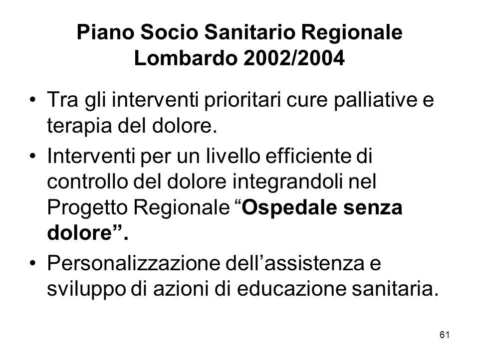 61 Piano Socio Sanitario Regionale Lombardo 2002/2004 Tra gli interventi prioritari cure palliative e terapia del dolore.