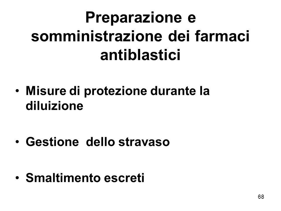 68 Preparazione e somministrazione dei farmaci antiblastici Misure di protezione durante la diluizione Gestione dello stravaso Smaltimento escreti