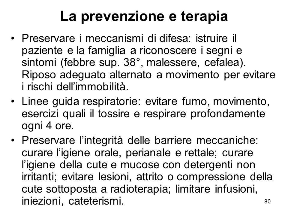 80 La prevenzione e terapia Preservare i meccanismi di difesa: istruire il paziente e la famiglia a riconoscere i segni e sintomi (febbre sup.